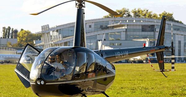 Нelicopter rental Robinson R66 blue